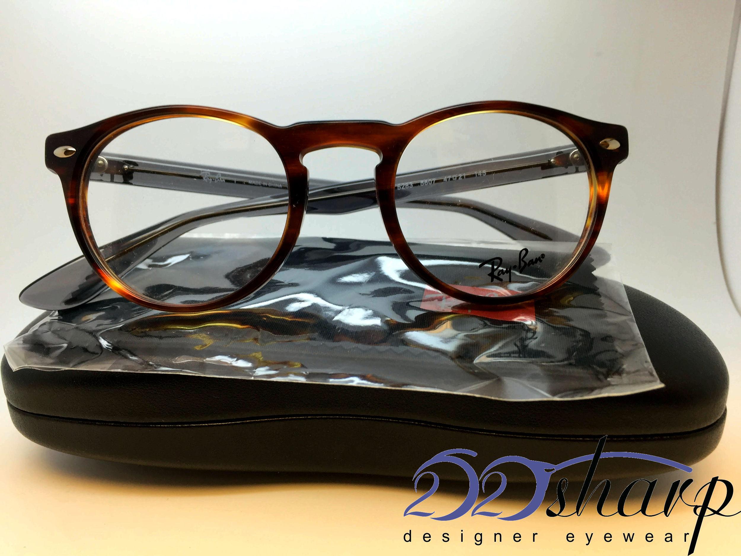 74e95cf60477f Ray Ban Eyeglasses-RB 5283 5607 STRIPED HAVANA Brown